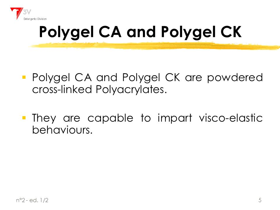 Polygels and Tempoxy-LO in NaClO based formulations - ppt