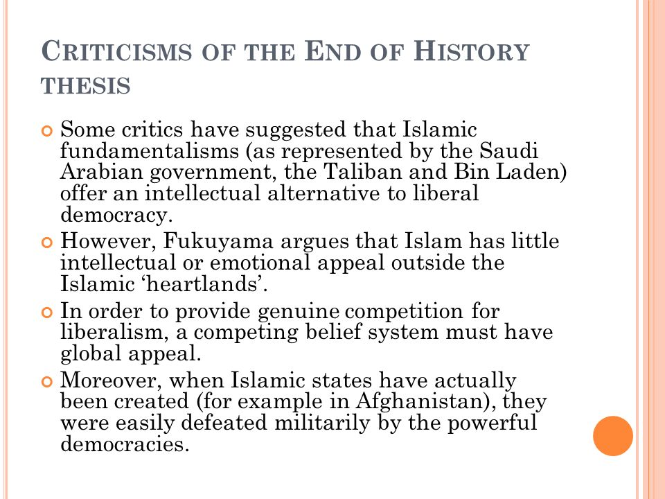 a brief analysis of fukuyamas thesis the end of history