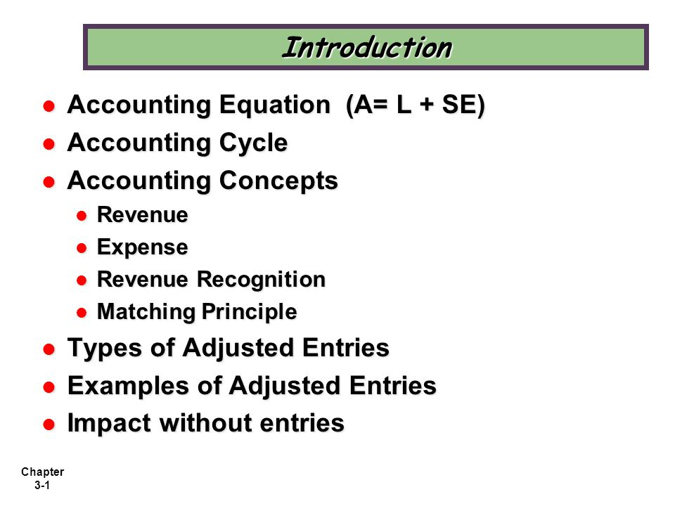 Introduction Accounting Equation (A= L + SE) Accounting Cycle