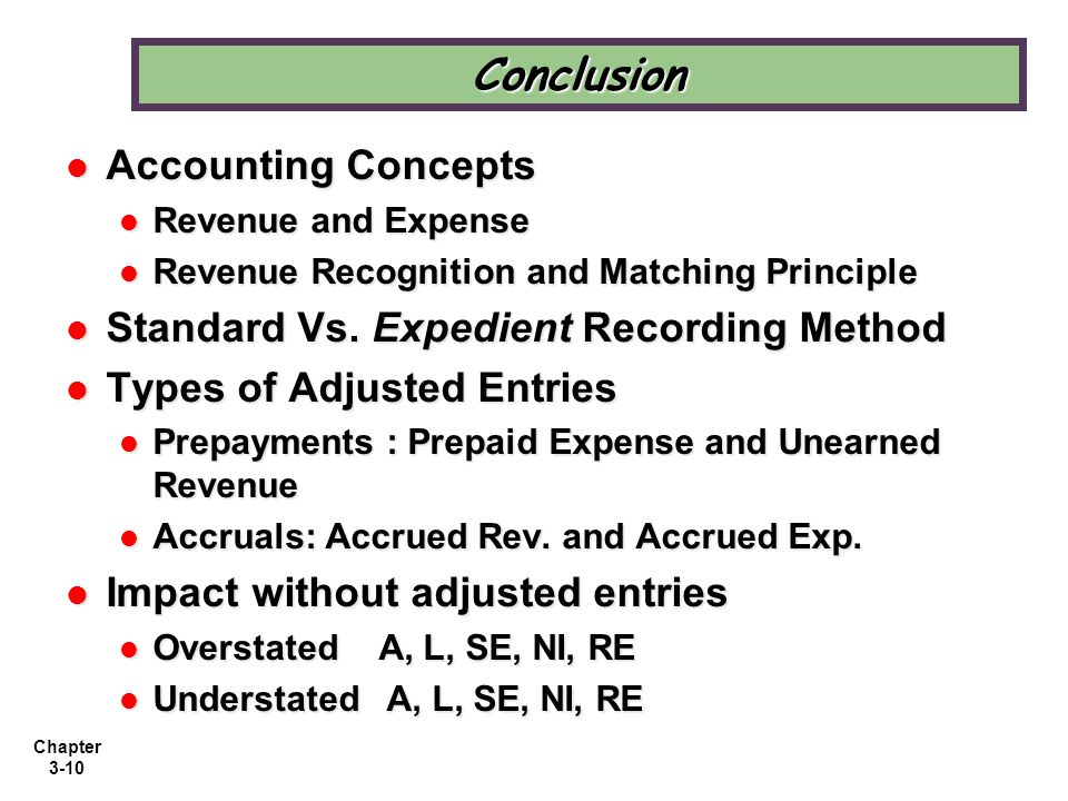 Conclusion Accounting Concepts Standard Vs. Expedient Recording Method