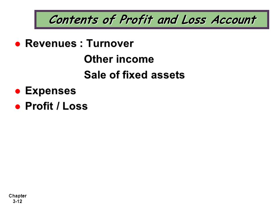 Contents of Profit and Loss Account