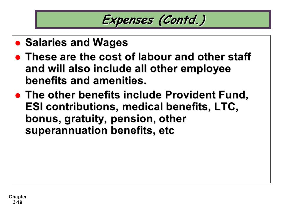 Expenses (Contd.) Salaries and Wages