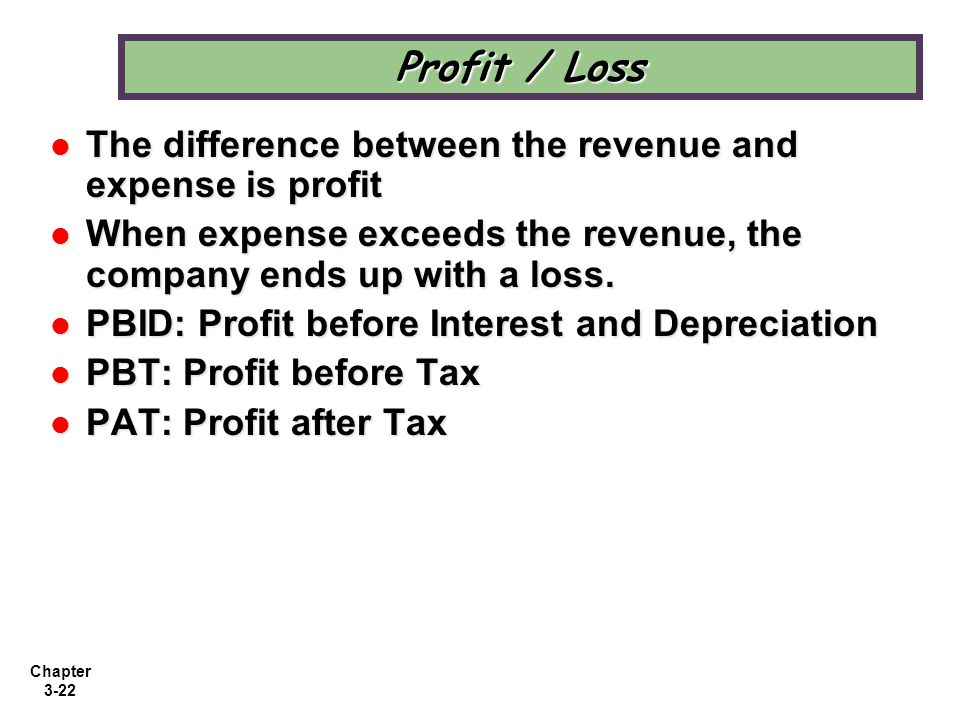 Profit / Loss The difference between the revenue and expense is profit
