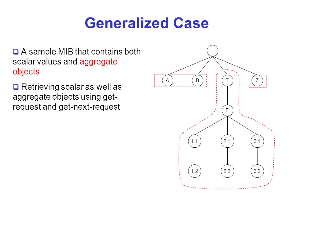 Generalized Case A sample MIB that contains both scalar values and aggregate objects.