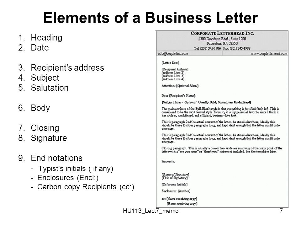 Elements Of A Business Letter