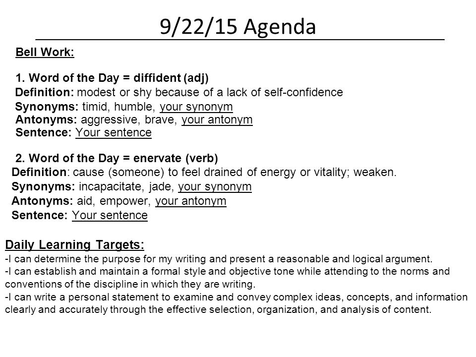 how to type up an agenda