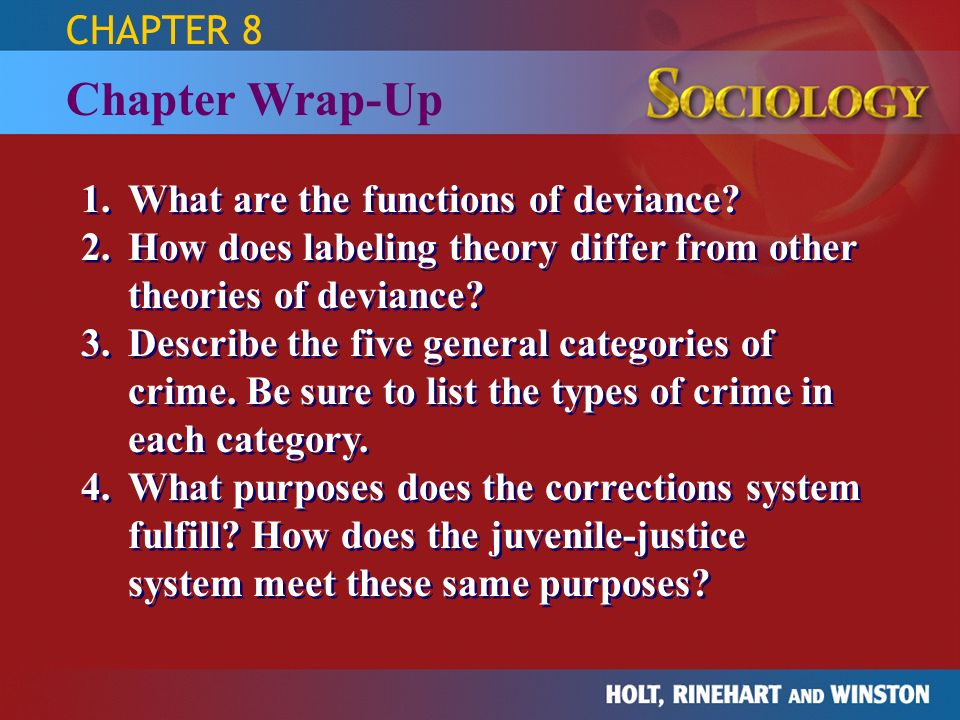 Chapter Wrap-Up CHAPTER 8 1. What are the functions of deviance