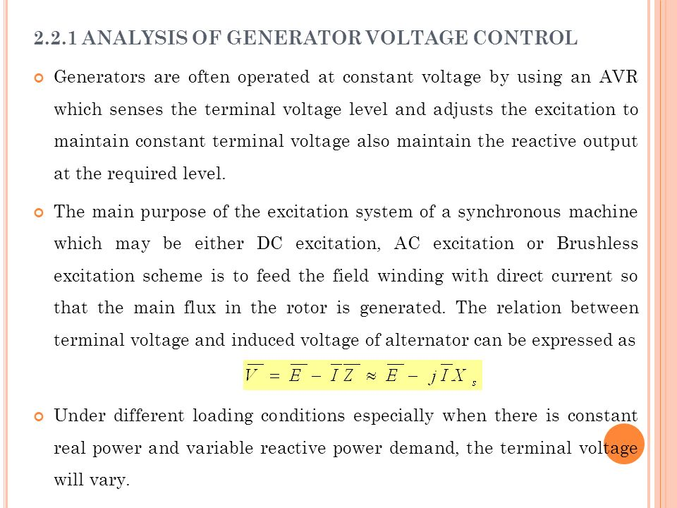 2.2.1 ANALYSIS OF GENERATOR VOLTAGE CONTROL