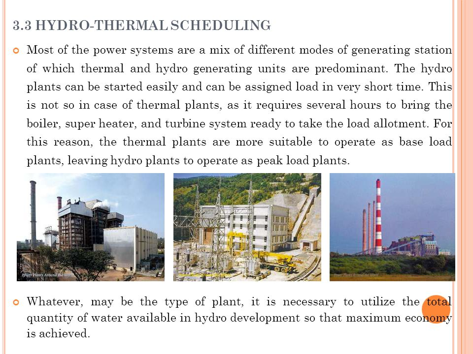3.3 HYDRO-THERMAL SCHEDULING