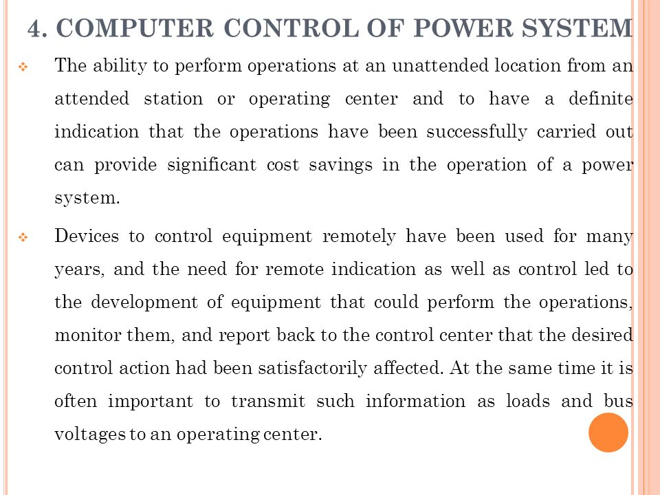 4. COMPUTER CONTROL OF POWER SYSTEM