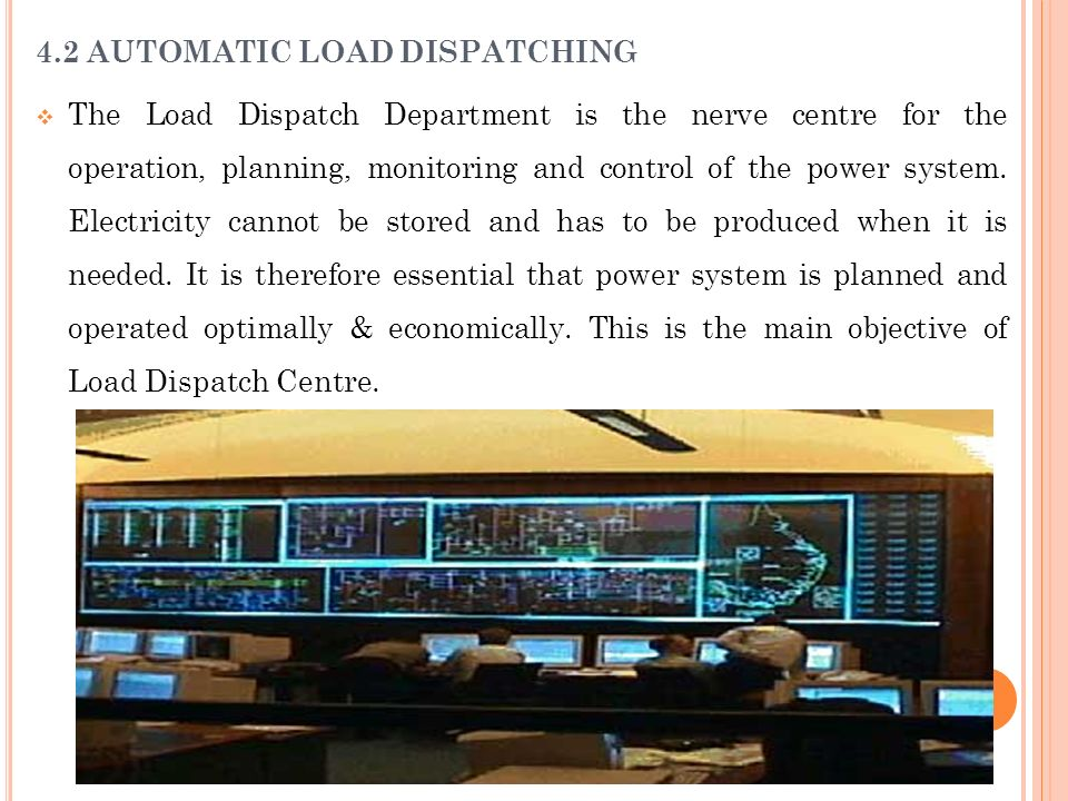 4.2 AUTOMATIC LOAD DISPATCHING