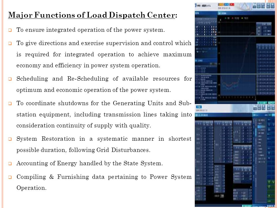 Major Functions of Load Dispatch Center: