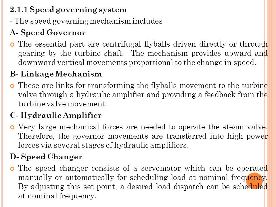 2.1.1 Speed governing system