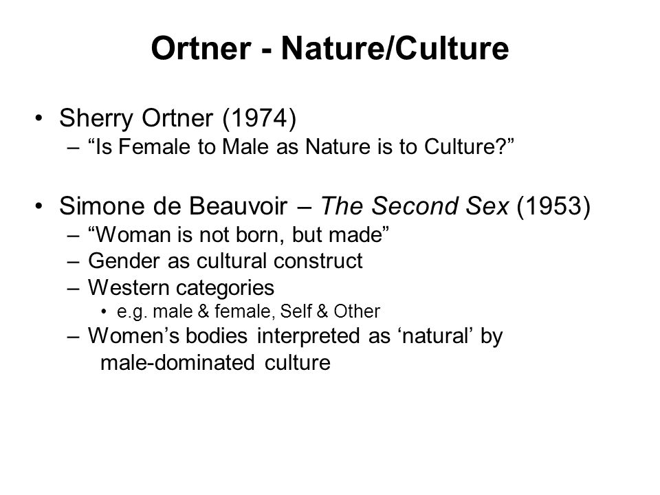 is female to male as nature is to culture summary