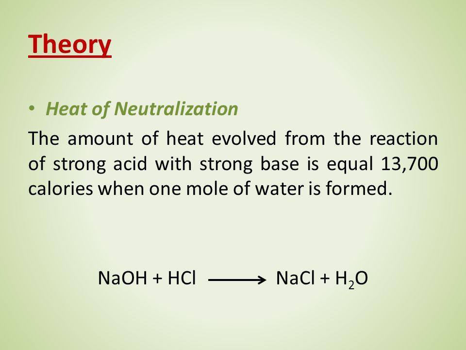 Experiment (2) Determination of the Heat of Neutralization