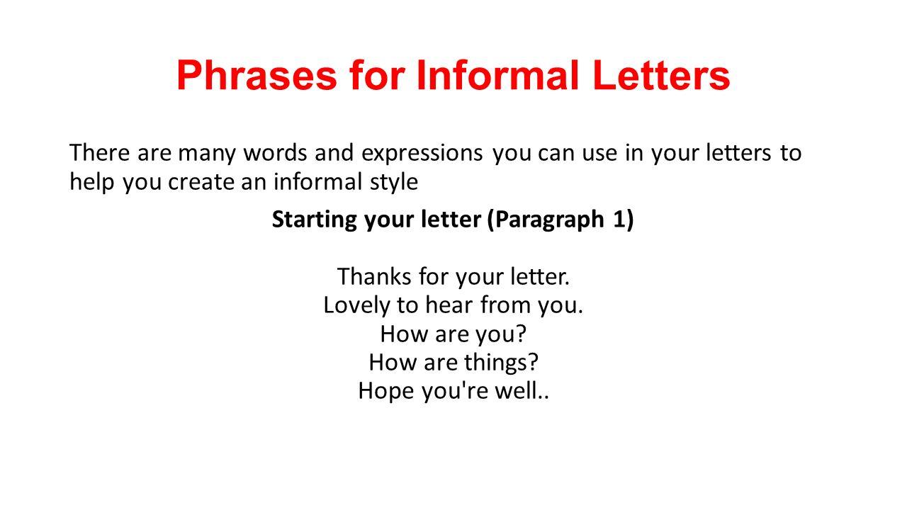 phrases for informal letters