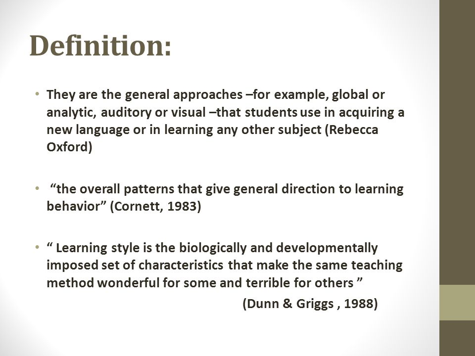 the definition of learning styles