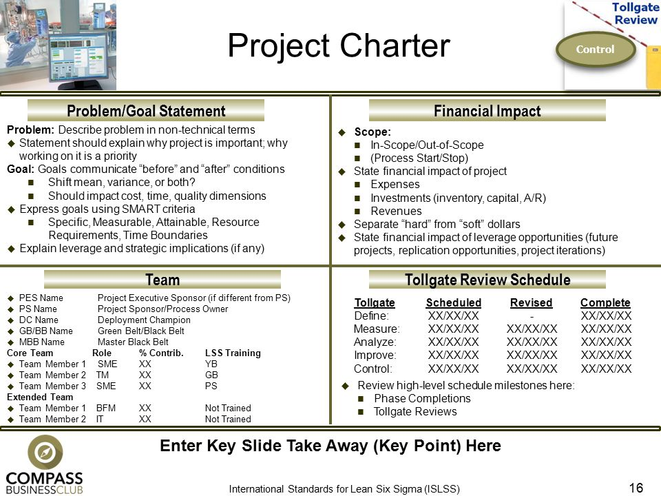 lean six sigma control phase tollgate review