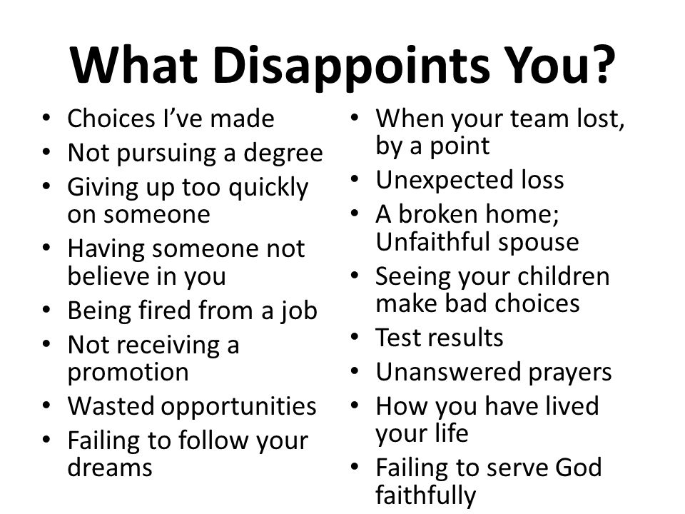 Dealing with Disappointment - ppt video online download