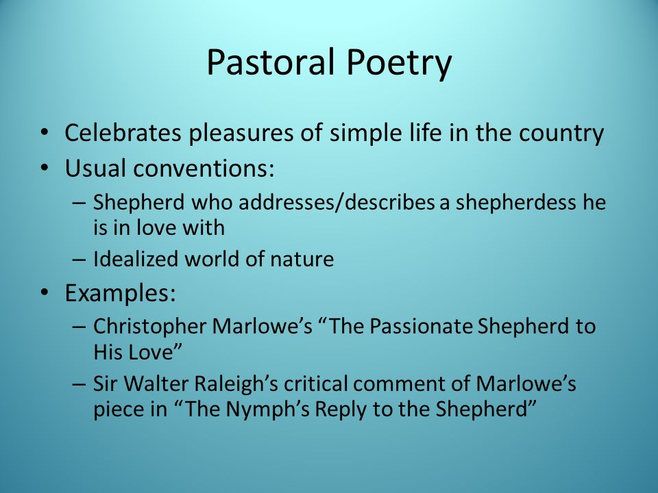 the passionate shepherd poems essay example View notes - the passionate shepherd to his love & the nymph's reply to the shepherd response from enlt 2511 at university of virginia while the reply appears to be.