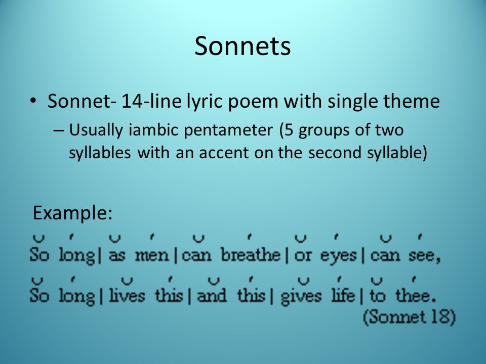 Sonnets Sonnet 14 Line Lyric Poem With Single Theme Example