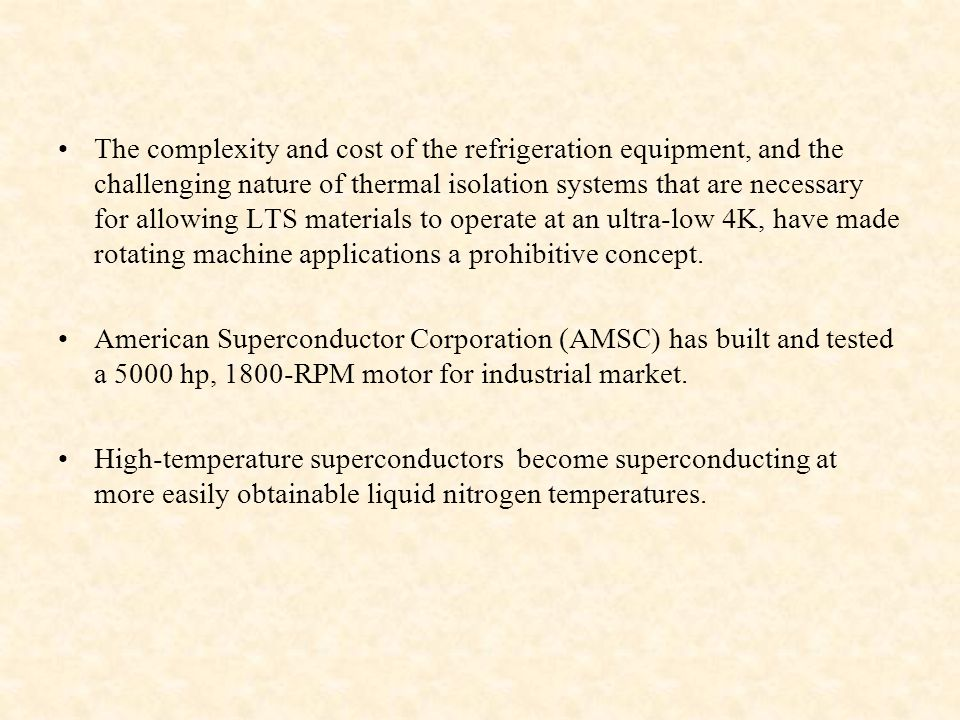 Superconducting electrical machines.
