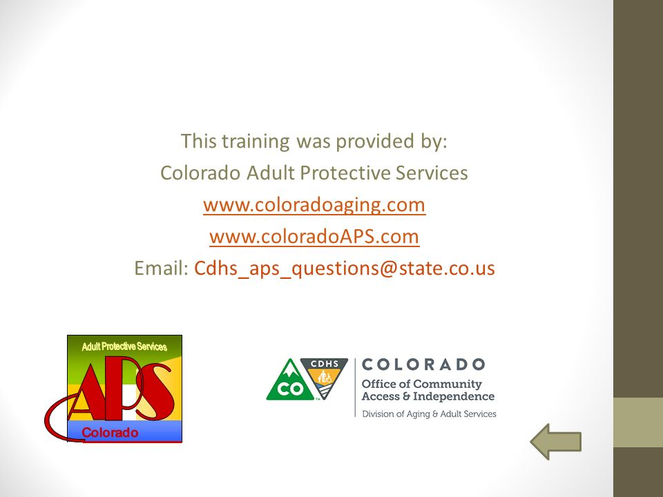 training Adult protective services