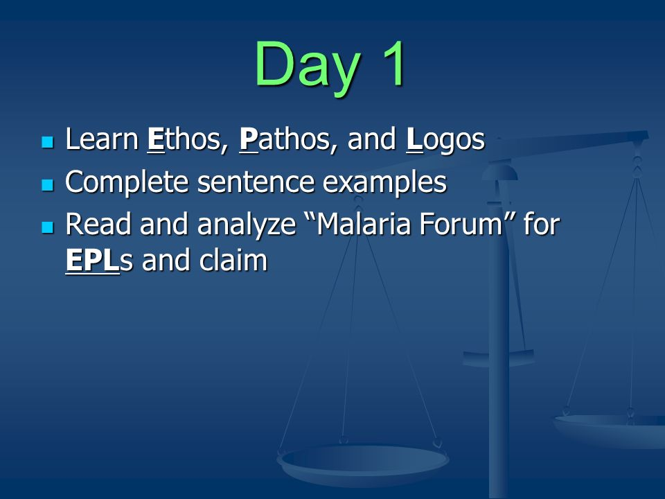 Day 1 Learn Ethos, Pathos, and Logos Complete sentence examples