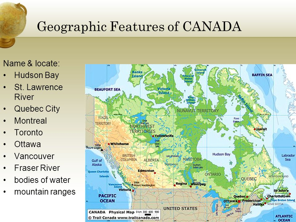 Physical Map Of Canada 6th Grade