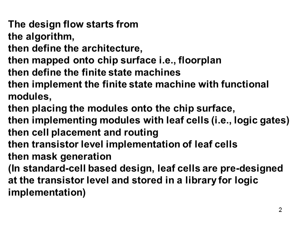 Vlsi Design Flow The Y Chart Consists Of Three Major Domains Ppt