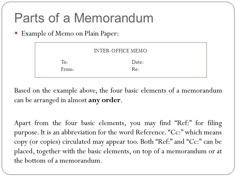parts of a memorandum example of memo on plain paper