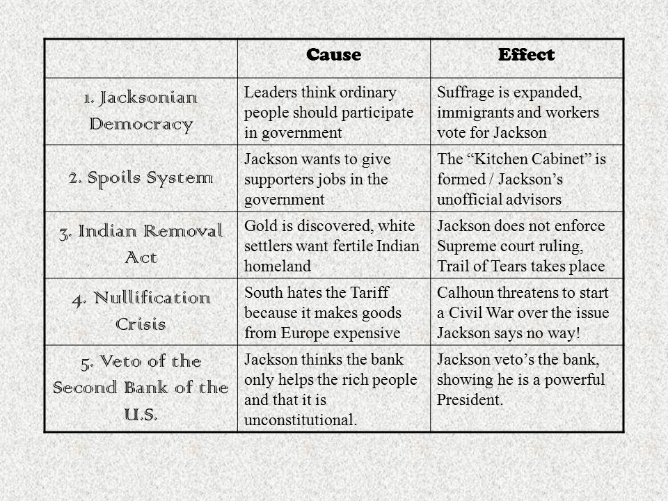 The Age Of Jackson Cause And Effect Chart Ppt Video Online Download