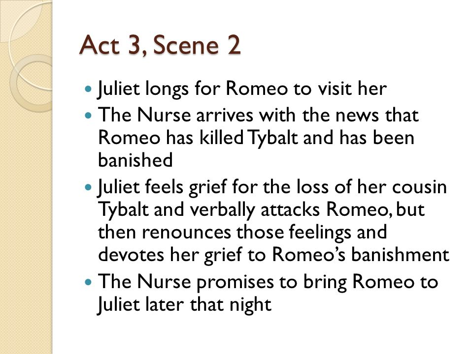 Act 3, Scene 2 Juliet longs for Romeo to visit her