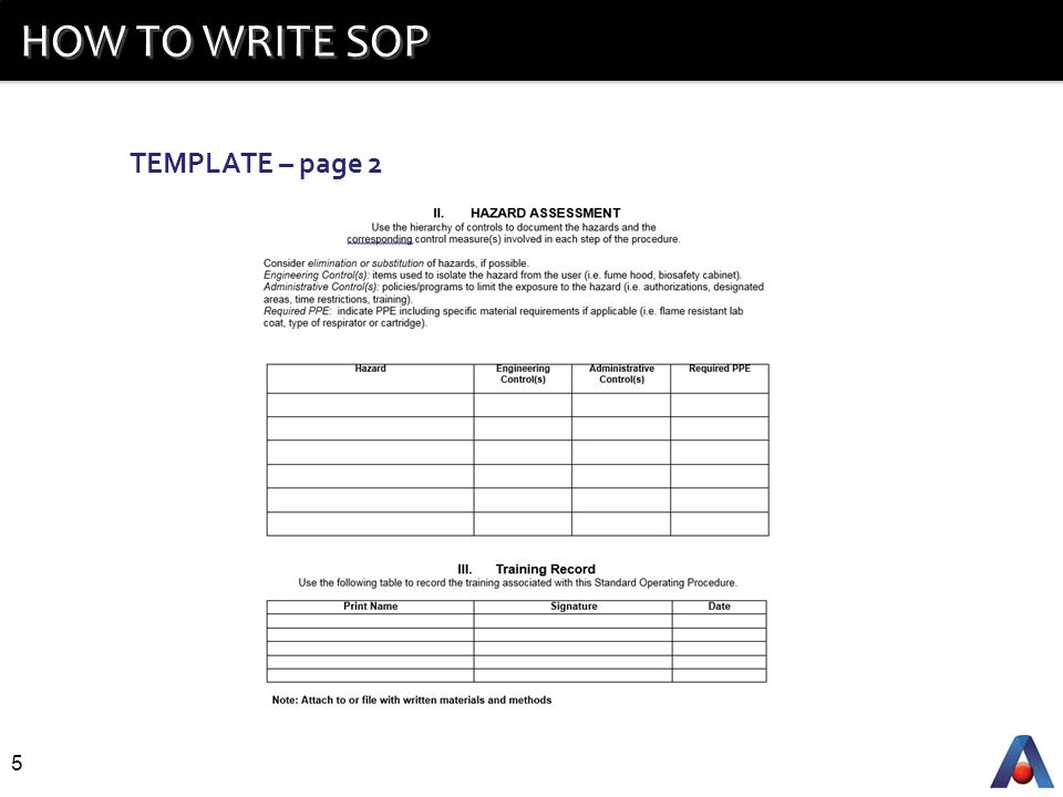 5 HOW TO WRITE SOP TEMPLATE Page 2