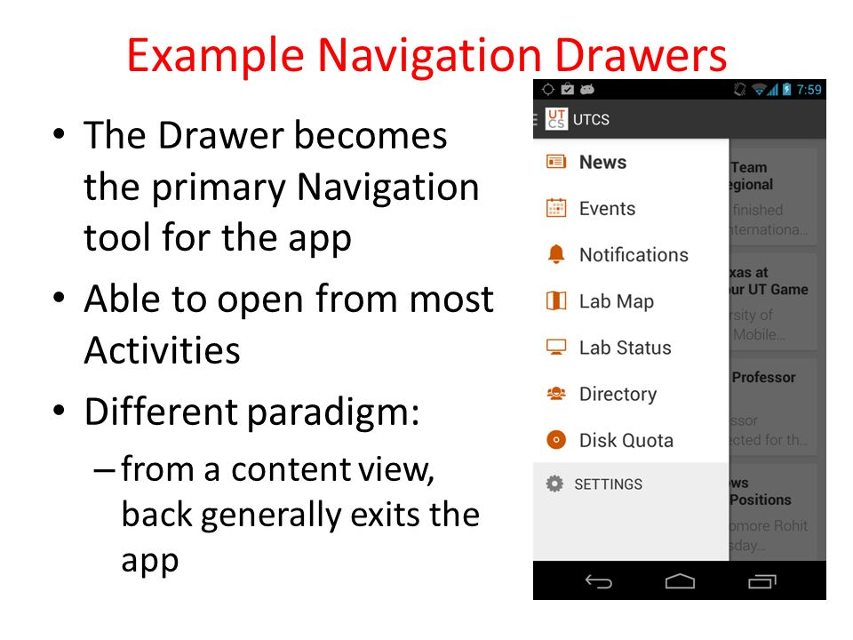 UI Redux, Navigation Patterns, Tabbed Views, Pagers, Drawers