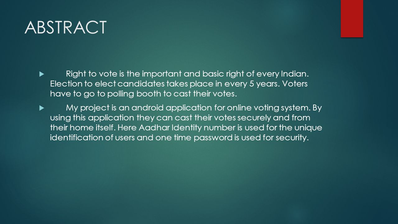 ANDROID APPLICATION FOR ONLINE VOTING SYSTEM - ppt video online download