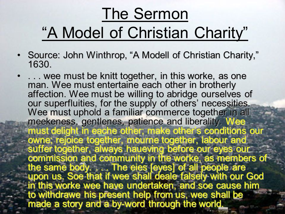 The Sermon A Model Of Christian Charity