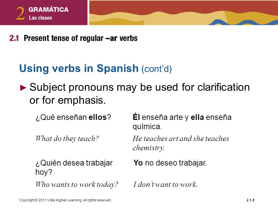 Using verbs in Spanish (cont'd)