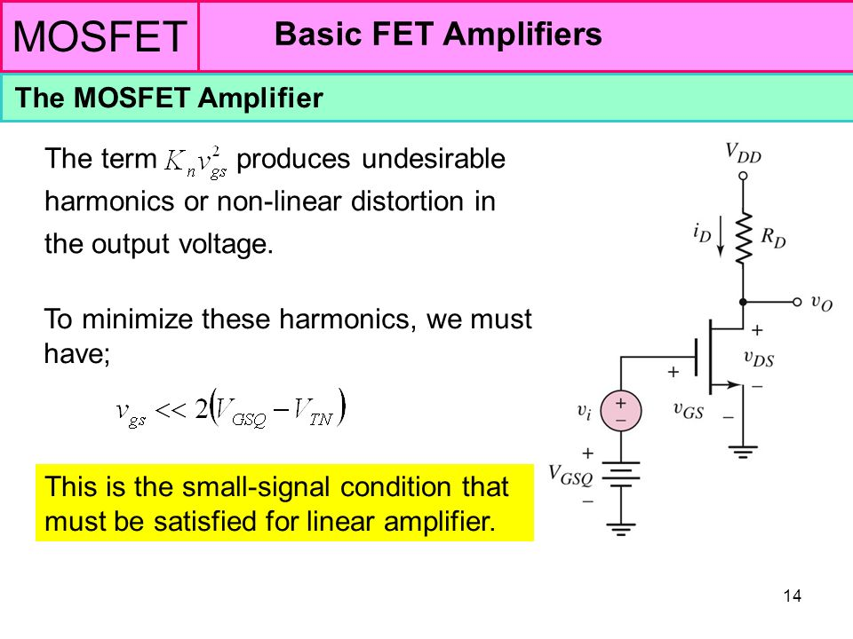 MOSFET Basic FET Amplifiers The MOSFET Amplifier - ppt video online