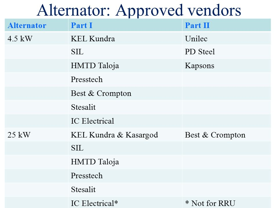 7 alternator: approved vendors
