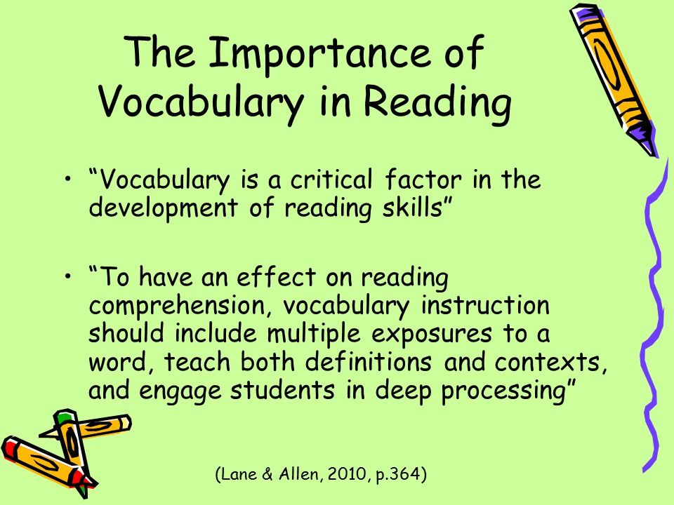 the importance of an enhanced vocabulary And vocabulary development, currently used methods to increase vocabulary development of english language learners, an effective model of instruction the need for vocabulary instruction in content area topics, and the effective use of technology as an aid to vocabulary development.