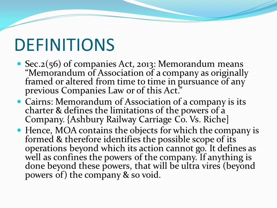 meaning of memorandum of association and articles of association