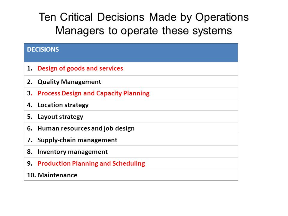10 critical decisions of operations management essays Ten critical areas of operations manage  ten critical areas of operations management and their examples tarik j smith trident university international the critical decision area of product and service design as applied by management of hard rock café is shown by their modification of their menu from the traditional american burgers and chicken wings to the higher-end items such as stuffed.