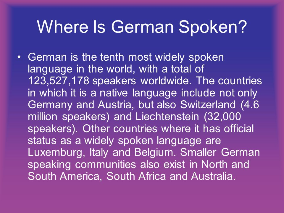Where Is German Spoken