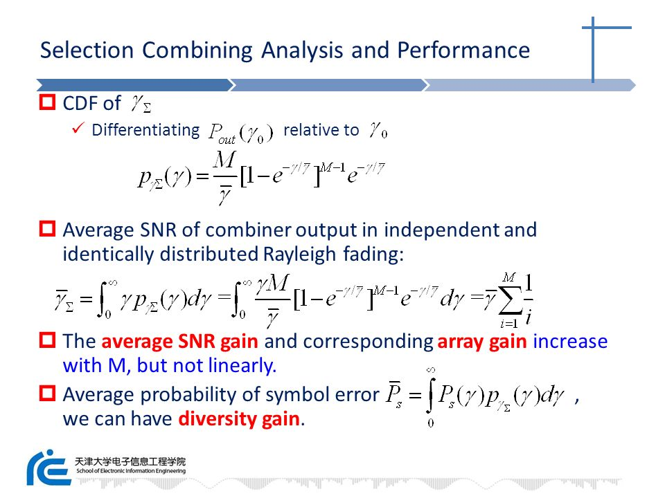 Selection Combining Analysis and Performance