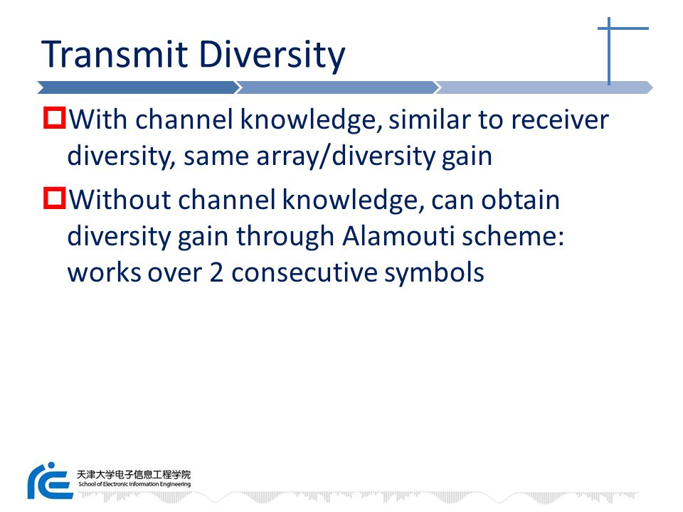 Transmit Diversity With channel knowledge, similar to receiver diversity, same array/diversity gain.