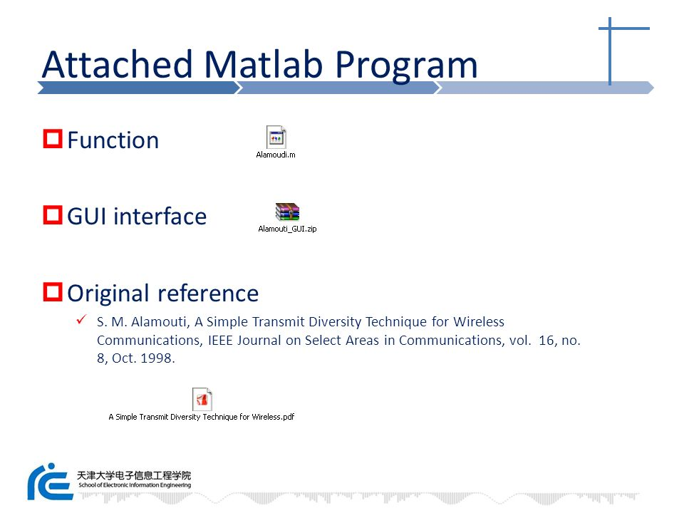 Attached Matlab Program