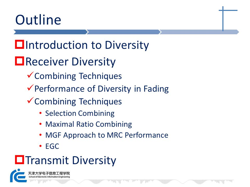 Outline Introduction to Diversity Receiver Diversity