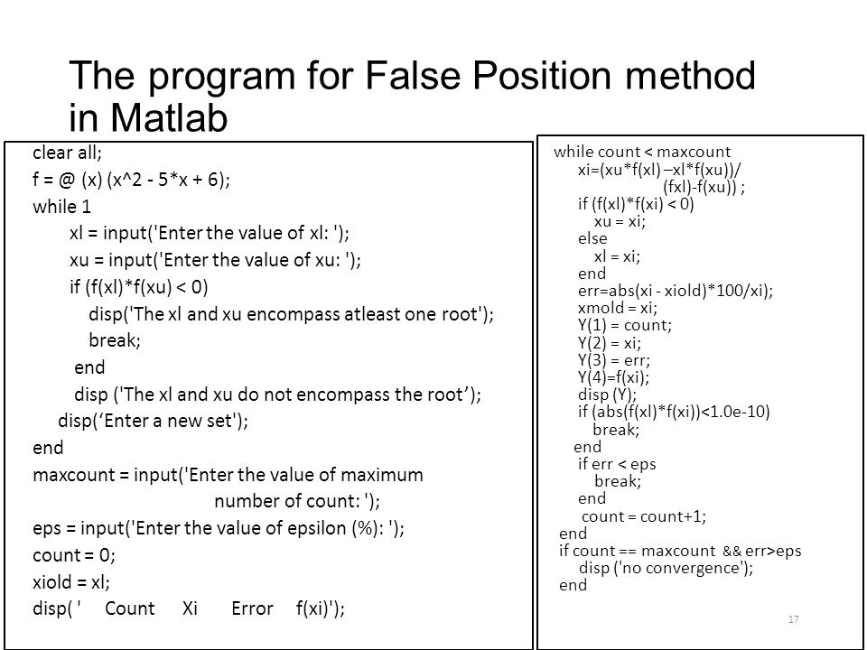 false position method