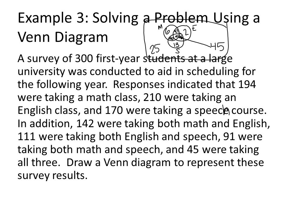 Section 2 4 using sets to solve problems ppt video online download 6 example 3 solving a problem using a venn diagram ccuart Image collections